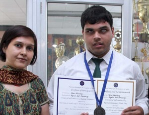 Tapas Bhardwaj scored 457 of the total 500 marks.