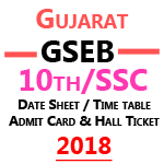 Gseb SSC Time Table 2018- Gujarat Board 10th Date sheet, Hall Ticket & Admit Card 2018 is Released