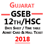 Gseb Hsc Time Table 2018 – Gujarat Board 12th class Datesheet & Admit Card 2018 is Available